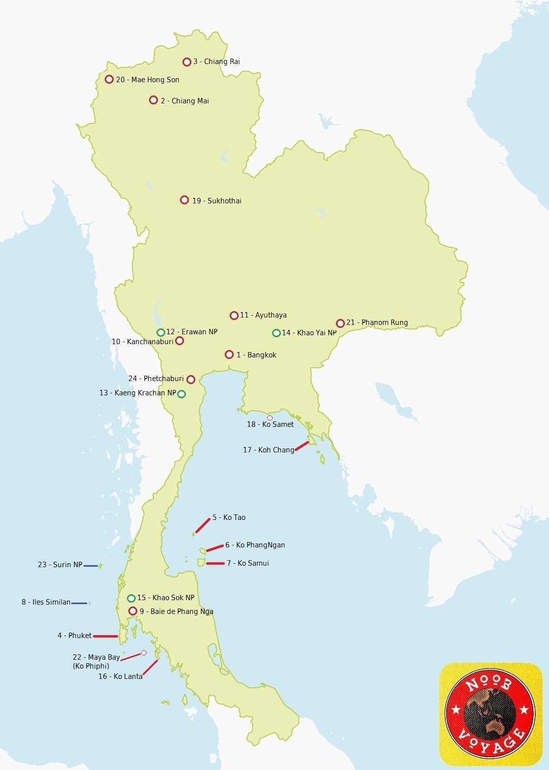Carte de la Thailande détaillée
