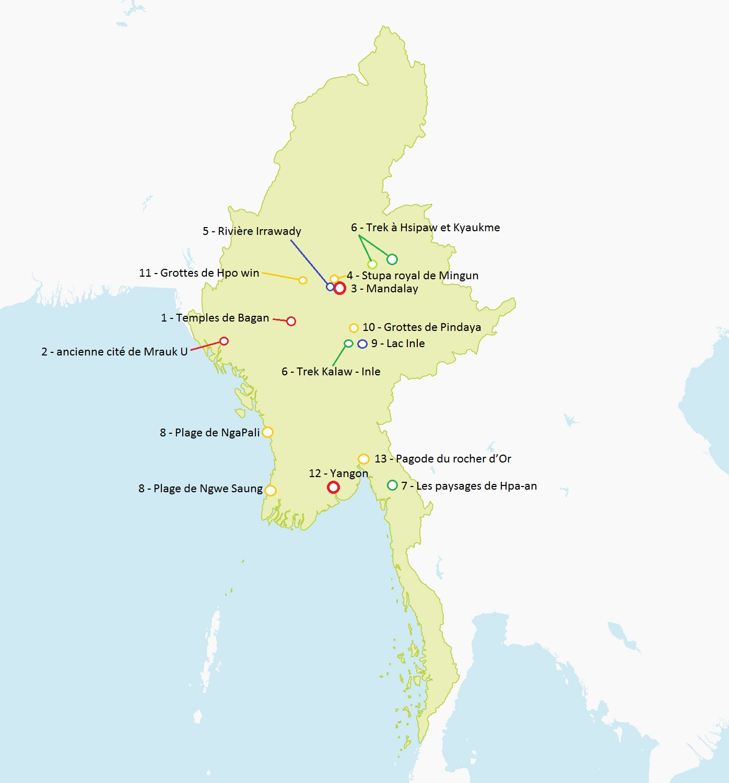 Carte Birmanie détaillée à imprimer