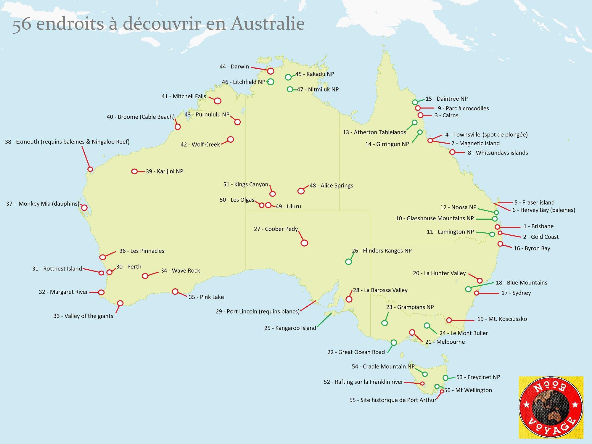 carte de l' australie détaillée à imprimer