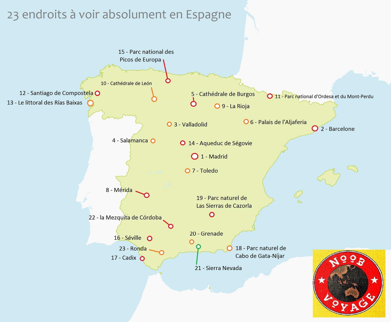 carte de l'espagne détaillée