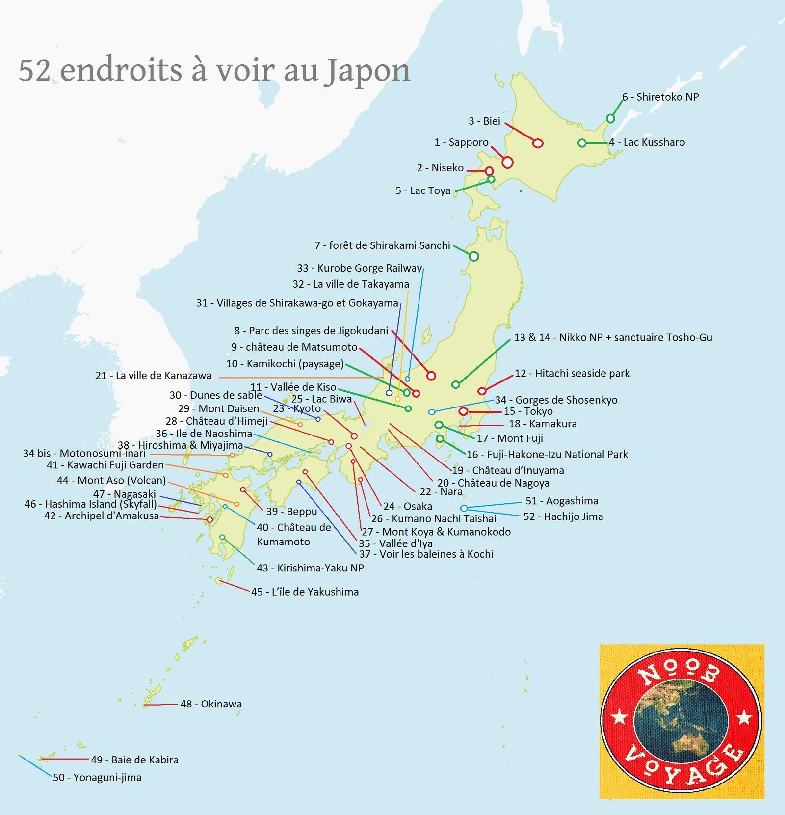 carte du japon détaillée