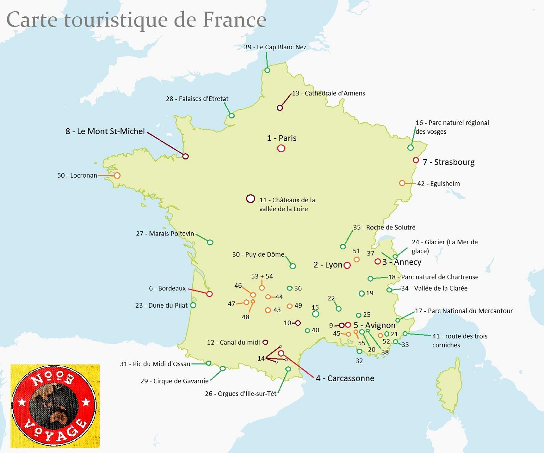 Carte de france touristique d taill e for Lieux touristiques france