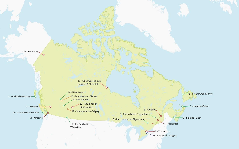 carte du canada touristique
