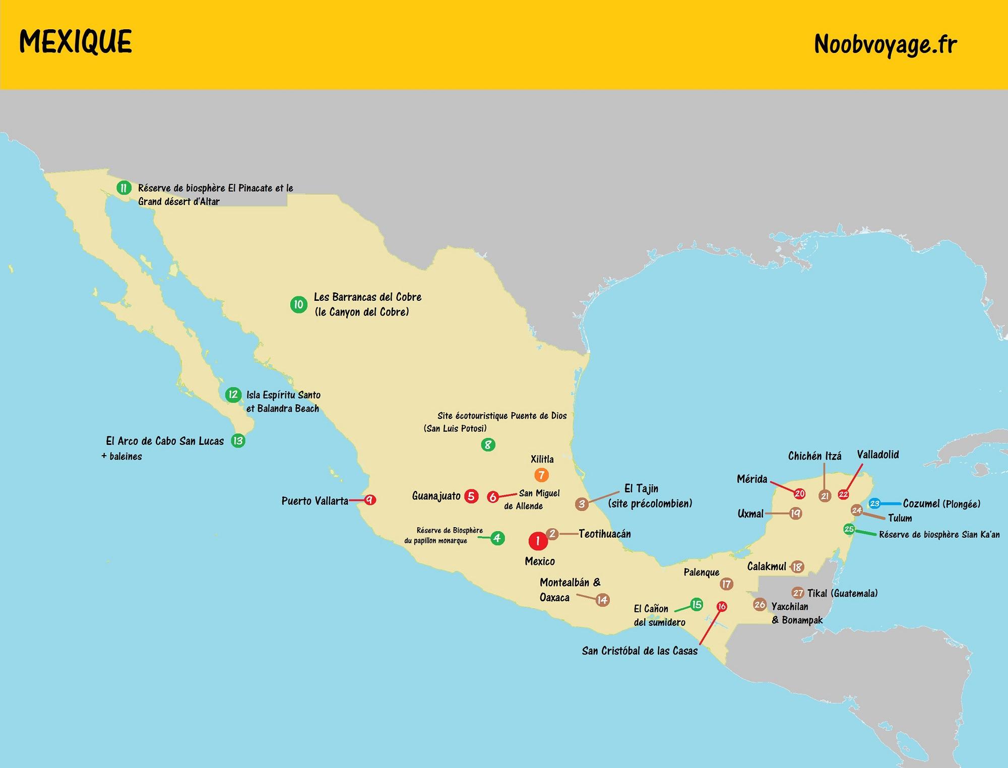 carte du mexique détaillée à imprimer touristique yucatan